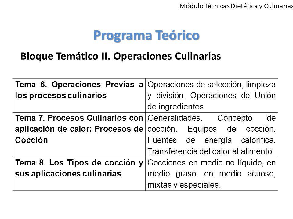 Módulo Técnicas Dietética y Culinarias Programa Teórico Bloque Temático II.