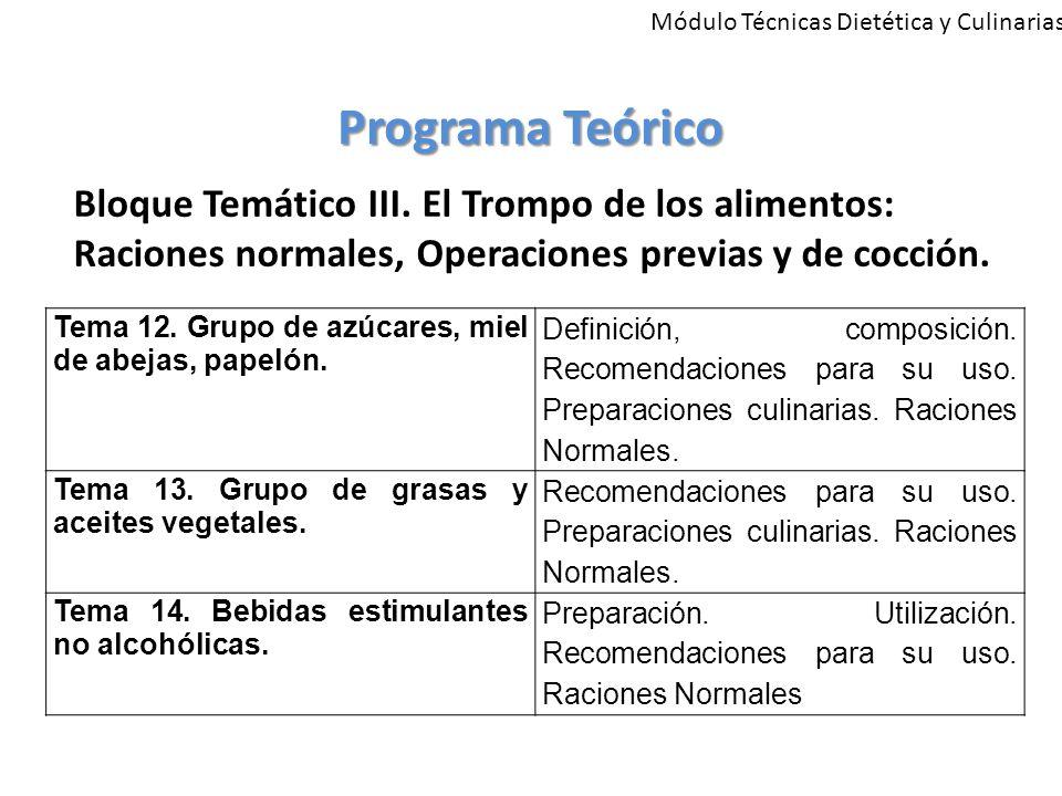Módulo Técnicas Dietética y Culinarias Programa Teórico Bloque Temático III.