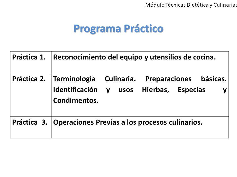Módulo Técnicas Dietética y Culinarias Programa Práctico Práctica 1.