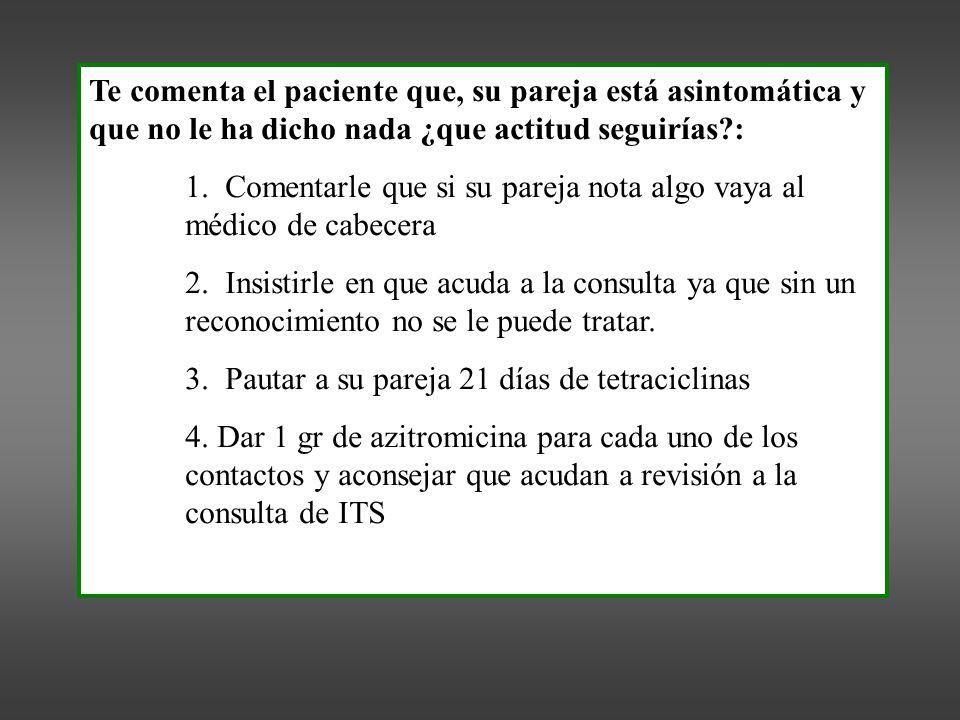Te comenta el paciente que, su pareja está asintomática y que no le ha dicho nada ¿que actitud seguirías?: 1.