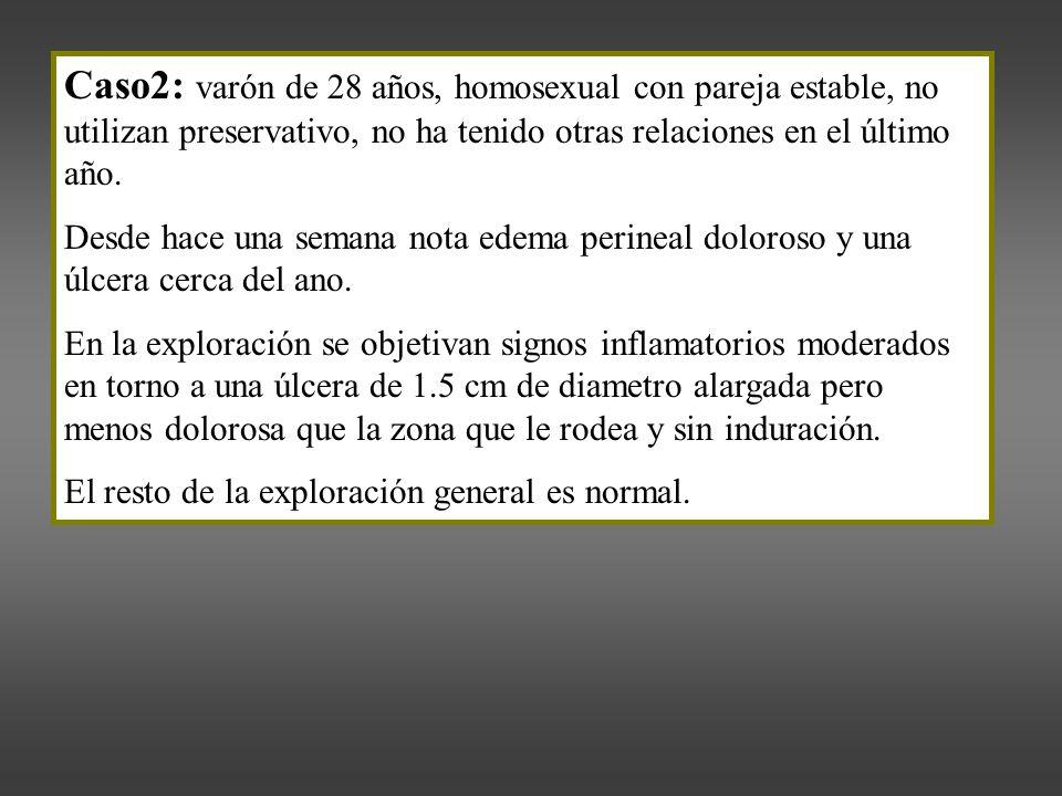 Caso2: varón de 28 años, homosexual con pareja estable, no utilizan preservativo, no ha tenido otras relaciones en el último año.