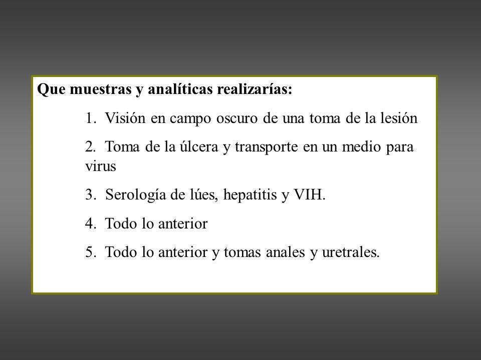 Que muestras y analíticas realizarías: 1.Visión en campo oscuro de una toma de la lesión 2.