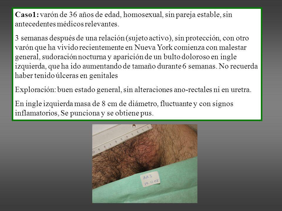 Caso1: varón de 36 años de edad, homosexual, sin pareja estable, sin antecedentes médicos relevantes.