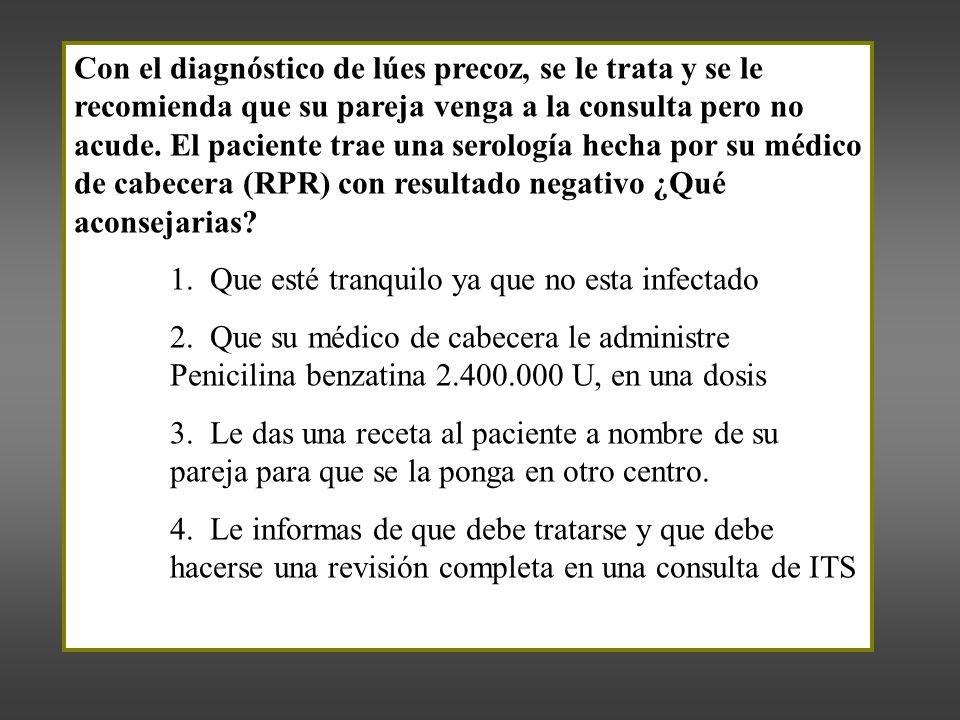 Con el diagnóstico de lúes precoz, se le trata y se le recomienda que su pareja venga a la consulta pero no acude.
