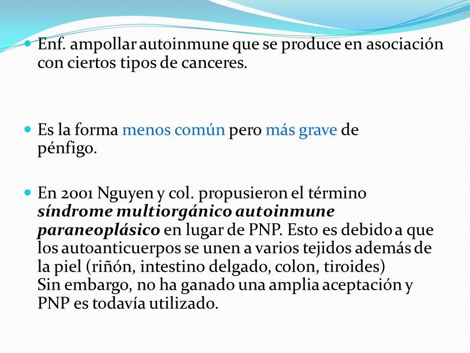 Enf.ampollar autoinmune que se produce en asociación con ciertos tipos de canceres.