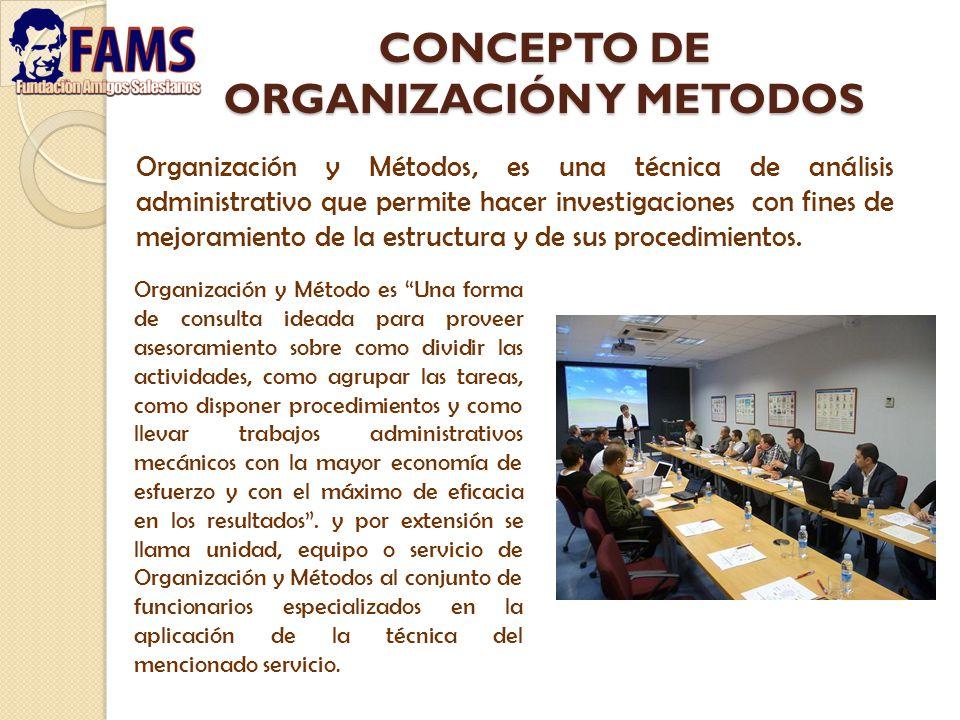 CONCEPTO DE ORGANIZACIÓN Y METODOS Organización y Métodos, es una técnica de análisis administrativo que permite hacer investigaciones con fines de me