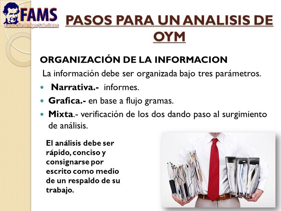 PASOS PARA UN ANALISIS DE OYM ORGANIZACIÓN DE LA INFORMACION La información debe ser organizada bajo tres parámetros. Narrativa.- informes. Grafica.-