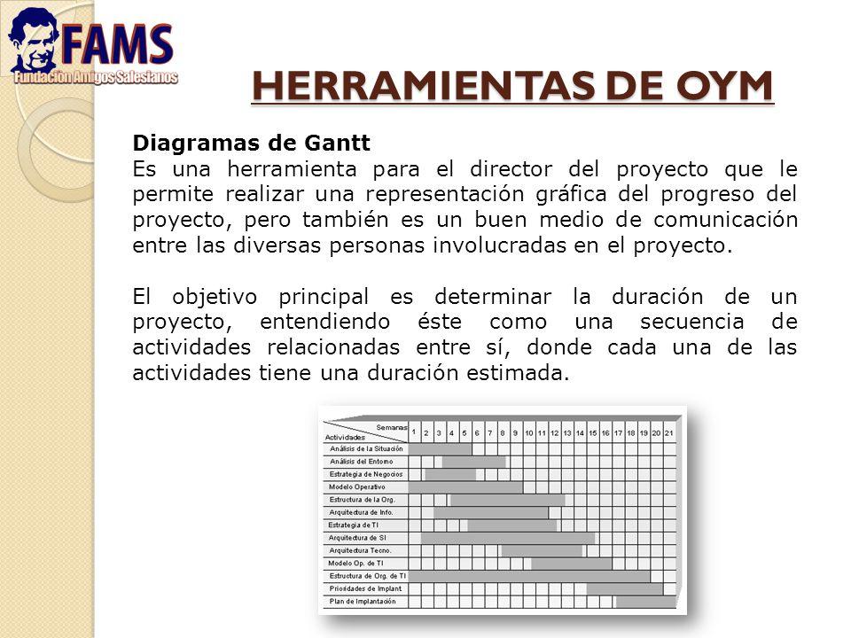 HERRAMIENTAS DE OYM Diagramas de Gantt Es una herramienta para el director del proyecto que le permite realizar una representación gráfica del progres