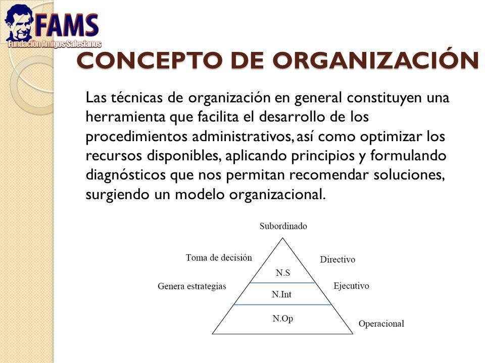 CONCEPTO DE ORGANIZACIÓN Las técnicas de organización en general constituyen una herramienta que facilita el desarrollo de los procedimientos administ