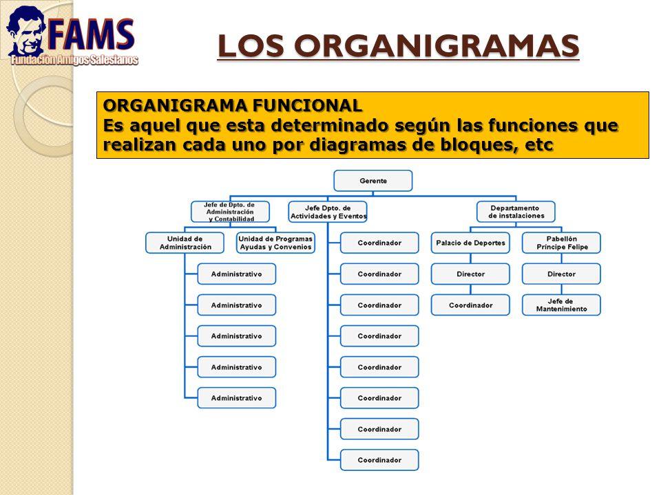 LOS ORGANIGRAMAS ORGANIGRAMA FUNCIONAL Es aquel que esta determinado según las funciones que realizan cada uno por diagramas de bloques, etc