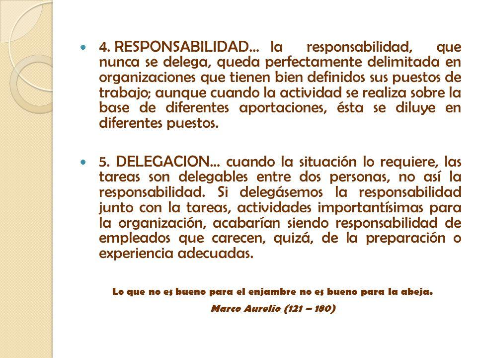 4. RESPONSABILIDAD…la responsabilidad, que nunca se delega, queda perfectamente delimitada en organizaciones que tienen bien definidos sus puestos de