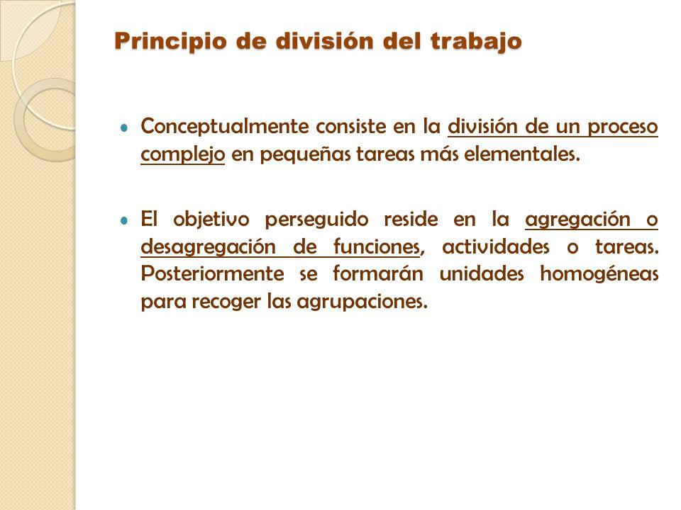 Principio de división del trabajo Conceptualmente consiste en la división de un proceso complejo en pequeñas tareas más elementales. El objetivo perse