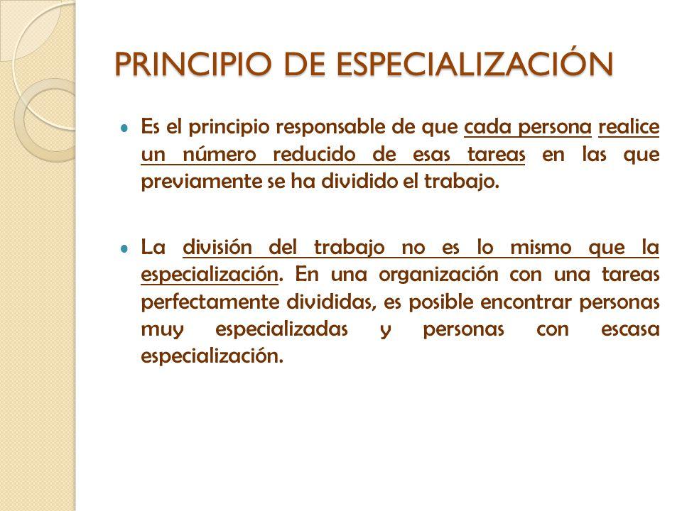 PRINCIPIO DE ESPECIALIZACIÓN Es el principio responsable de que cada persona realice un número reducido de esas tareas en las que previamente se ha di