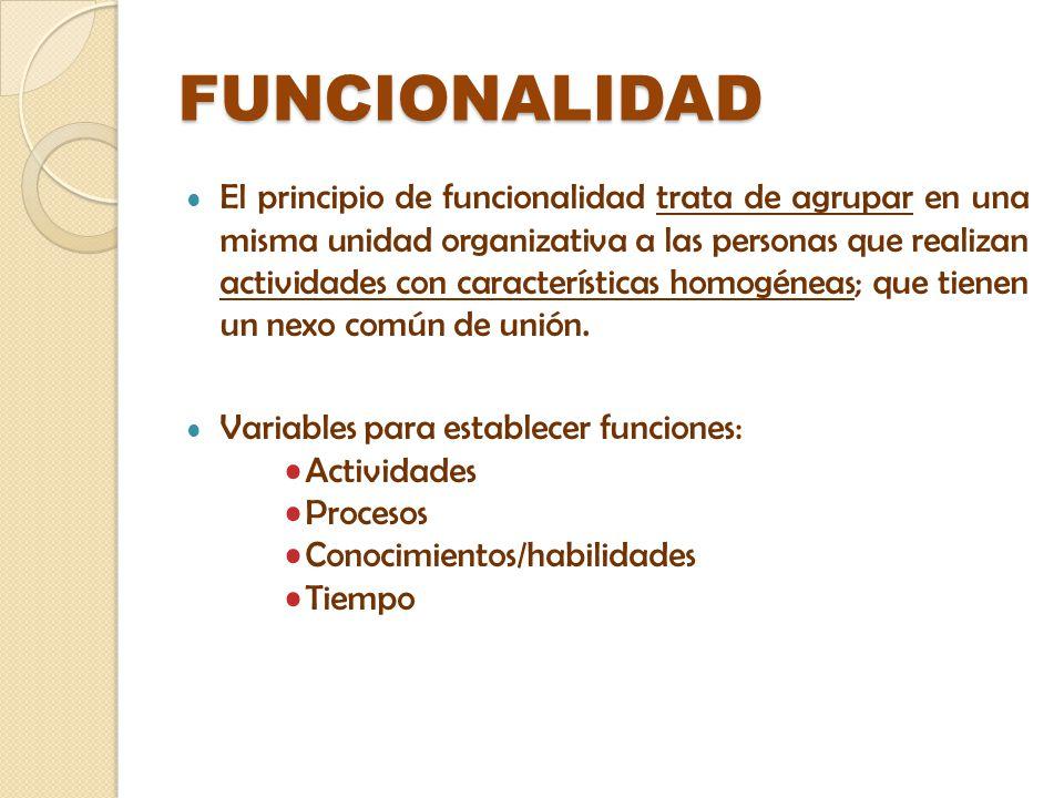 FUNCIONALIDAD El principio de funcionalidad trata de agrupar en una misma unidad organizativa a las personas que realizan actividades con característi