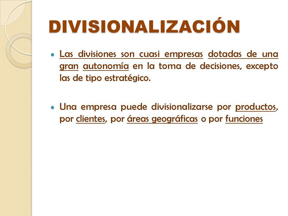 DIVISIONALIZACIÓN Las divisiones son cuasi empresas dotadas de una gran autonomía en la toma de decisiones, excepto las de tipo estratégico. Una empre