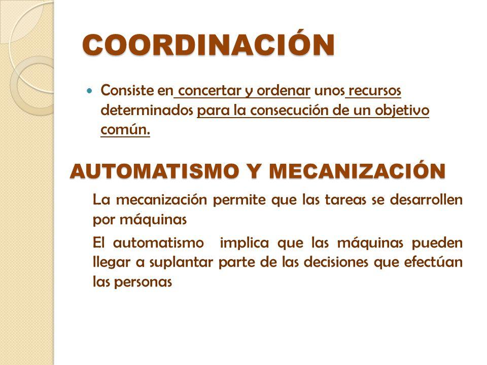 COORDINACIÓN Consiste en concertar y ordenar unos recursos determinados para la consecución de un objetivo común. AUTOMATISMO Y MECANIZACIÓN La mecani