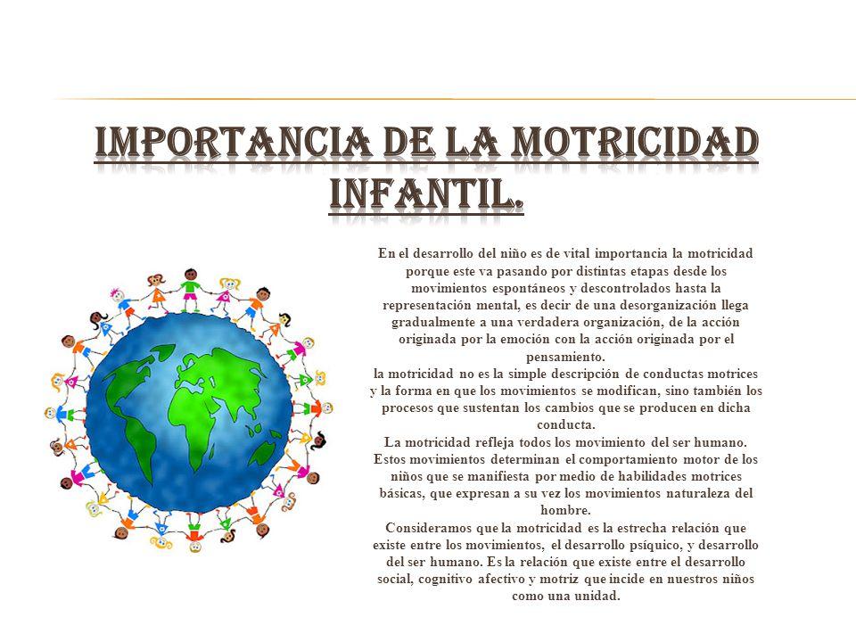 En el desarrollo del niño es de vital importancia la motricidad porque este va pasando por distintas etapas desde los movimientos espontáneos y descon