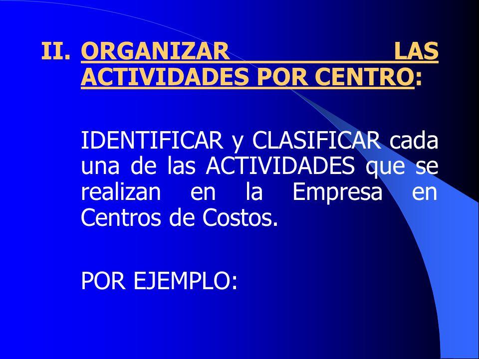II.ORGANIZAR LAS ACTIVIDADES POR CENTRO: IDENTIFICAR y CLASIFICAR cada una de las ACTIVIDADES que se realizan en la Empresa en Centros de Costos.