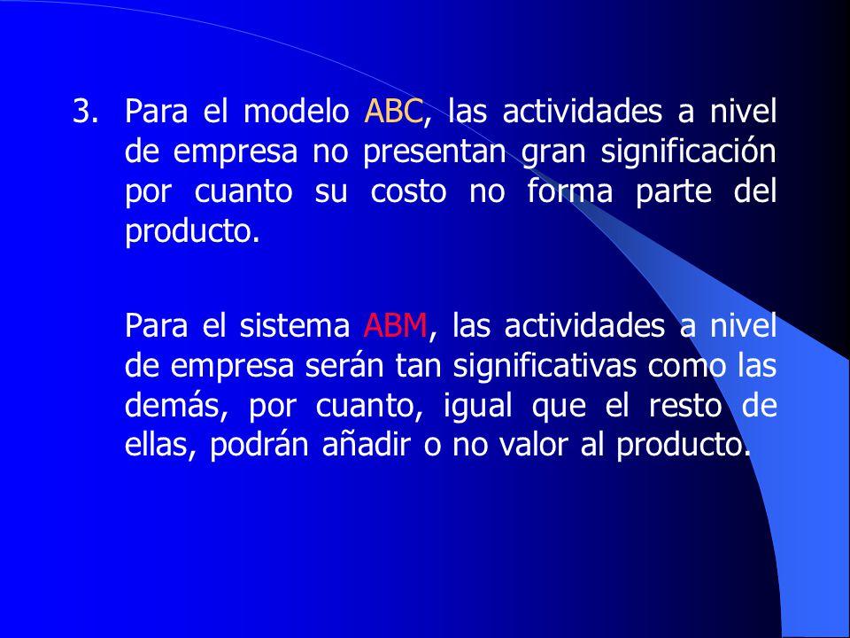 3.Para el modelo ABC, las actividades a nivel de empresa no presentan gran significación por cuanto su costo no forma parte del producto.