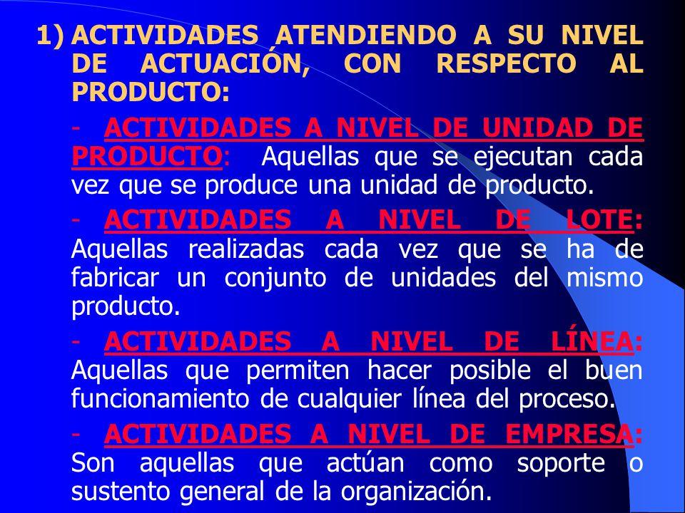 1)ACTIVIDADES ATENDIENDO A SU NIVEL DE ACTUACIÓN, CON RESPECTO AL PRODUCTO: -ACTIVIDADES A NIVEL DE UNIDAD DE PRODUCTO: Aquellas que se ejecutan cada vez que se produce una unidad de producto.