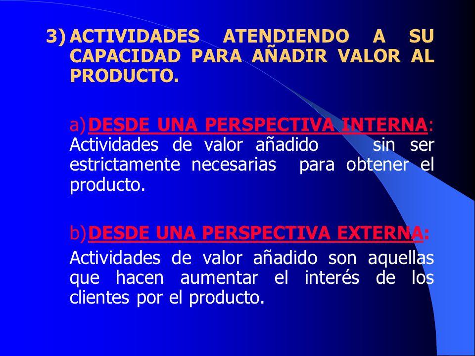 3)ACTIVIDADES ATENDIENDO A SU CAPACIDAD PARA AÑADIR VALOR AL PRODUCTO.