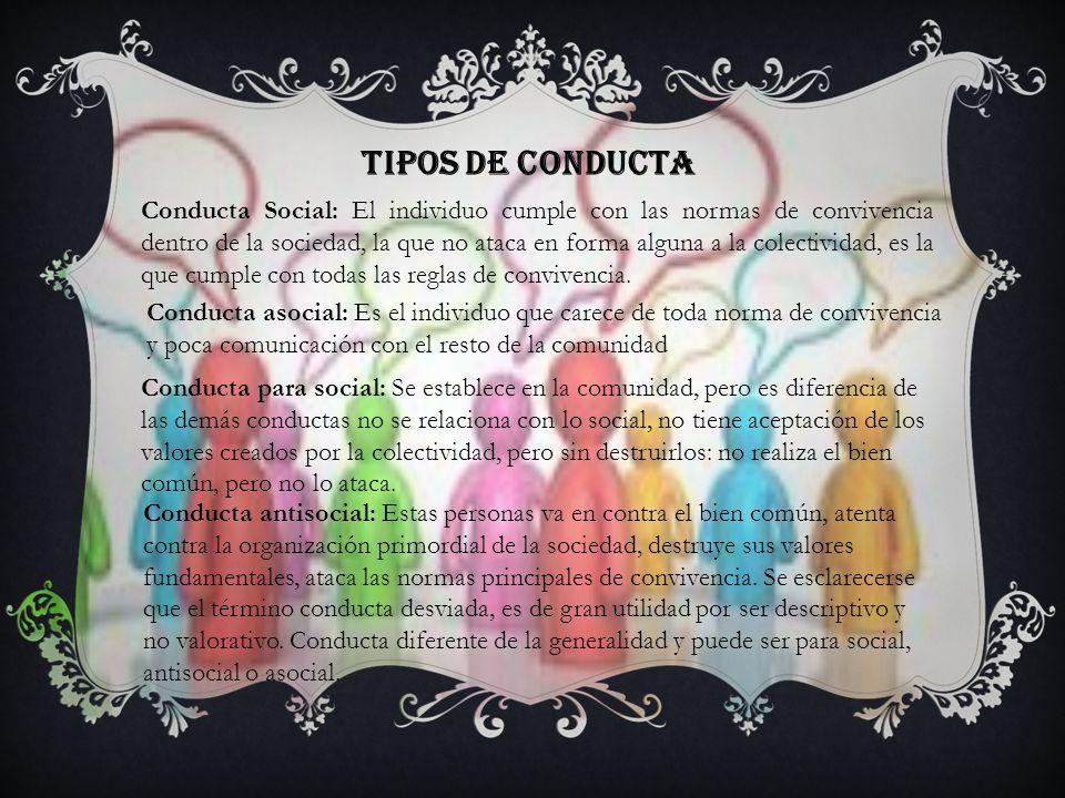 Tipos de conducta Conducta Social: El individuo cumple con las normas de convivencia dentro de la sociedad, la que no ataca en forma alguna a la colectividad, es la que cumple con todas las reglas de convivencia.
