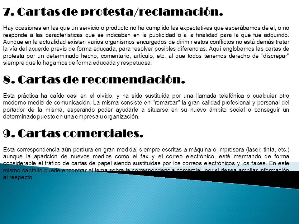 7.Cartas de protesta/reclamación.