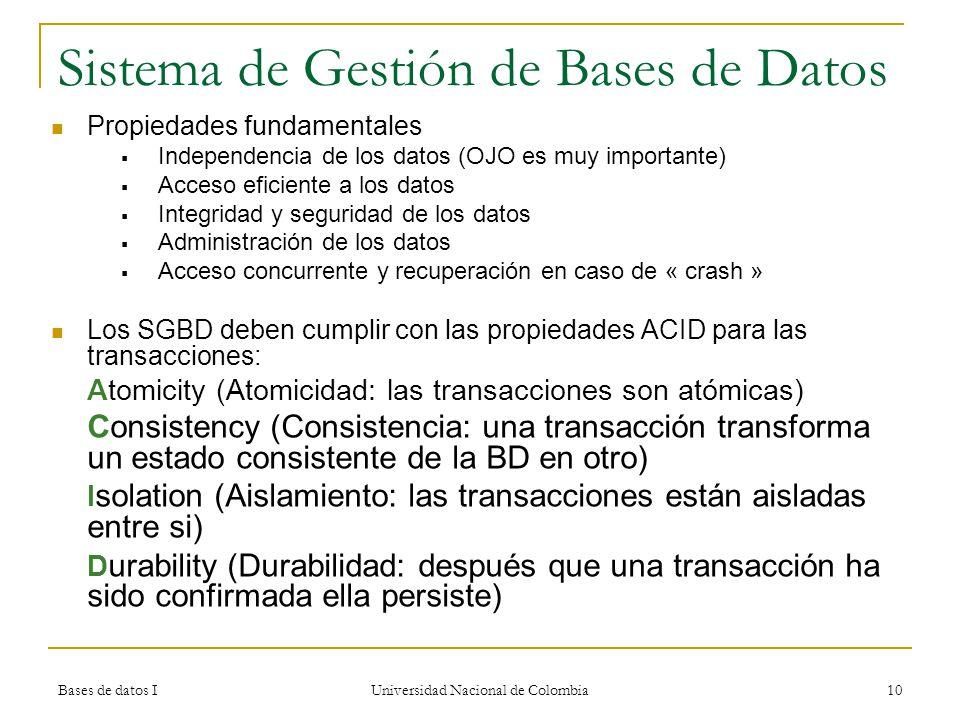 Bases de datos I Universidad Nacional de Colombia 10 Sistema de ...
