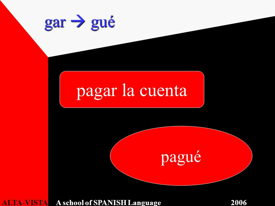 pagar la cuenta pagué gar  gué ALTA-VISTA A school of SPANISH Language 2006