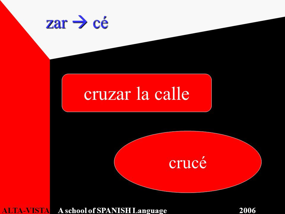 cruzar la calle crucé zar  cé ALTA-VISTA A school of SPANISH Language 2006