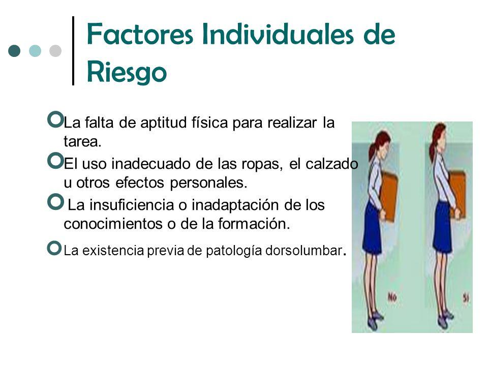 Factores Individuales de Riesgo La falta de aptitud física para realizar la tarea.