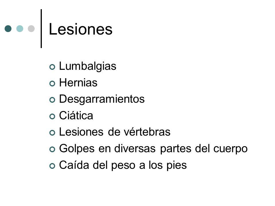 Lesiones Lumbalgias Hernias Desgarramientos Ciática Lesiones de vértebras Golpes en diversas partes del cuerpo Caída del peso a los pies