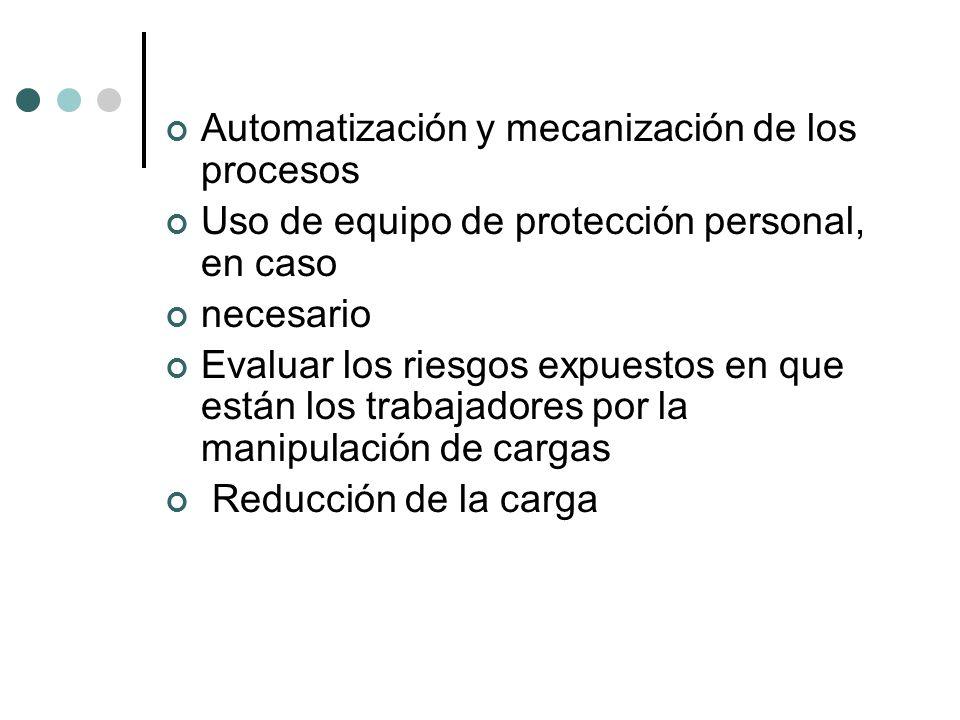 Automatización y mecanización de los procesos Uso de equipo de protección personal, en caso necesario Evaluar los riesgos expuestos en que están los trabajadores por la manipulación de cargas Reducción de la carga