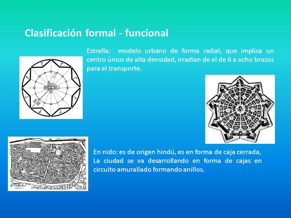 Clasificación formal - funcional Estrella: modelo urbano de forma radial, que implica un centro único de alta densidad, irradian de el de 6 a ocho bra