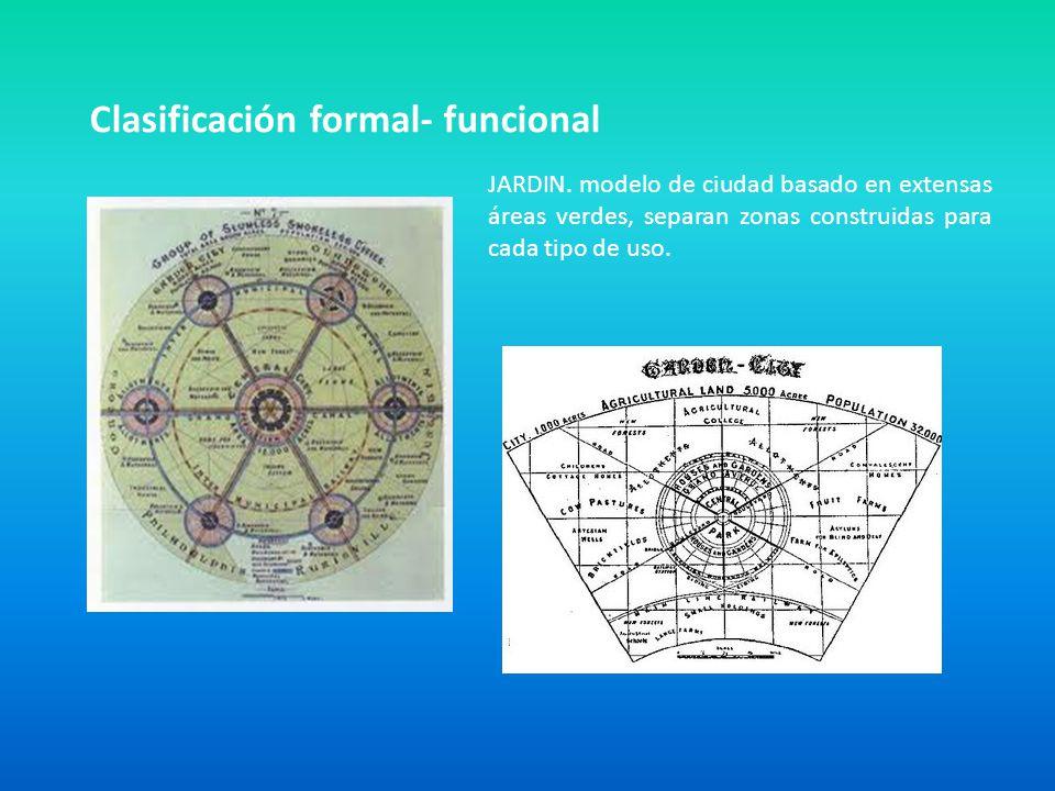 Clasificación formal- funcional JARDIN. modelo de ciudad basado en extensas áreas verdes, separan zonas construidas para cada tipo de uso.