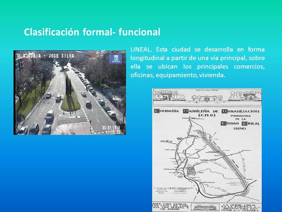 Clasificación formal- funcional LINEAL. Esta ciudad se desarrolla en forma longitudinal a partir de una vía principal, sobre ella se ubican los princi