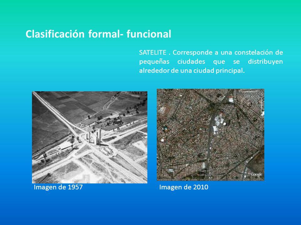 Clasificación formal- funcional SATELITE. Corresponde a una constelación de pequeñas ciudades que se distribuyen alrededor de una ciudad principal. Im