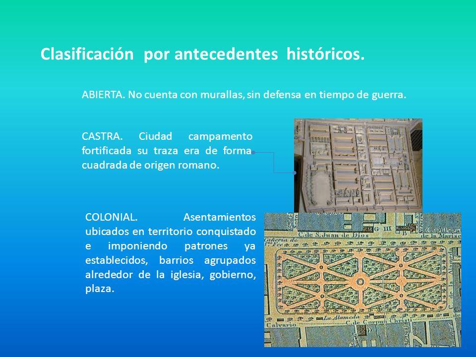 Clasificación por antecedentes históricos. ABIERTA. No cuenta con murallas, sin defensa en tiempo de guerra. CASTRA. Ciudad campamento fortificada su