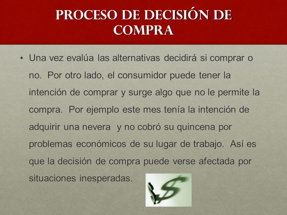 Proceso de decisión de compra En caso de que la compra se materialice se pasa a la etapa de comportamiento postcompra.