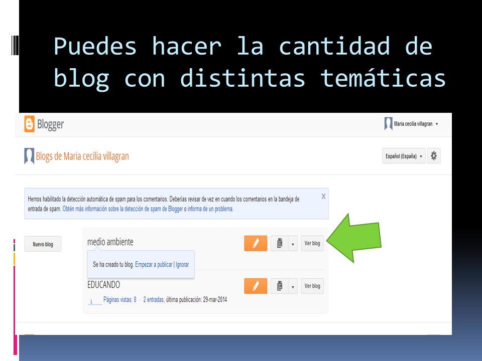 Puedes hacer la cantidad de blog con distintas temáticas
