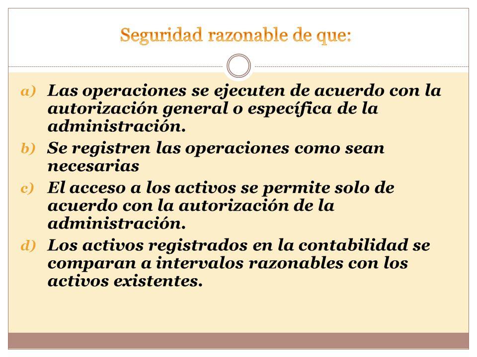 a) Las operaciones se ejecuten de acuerdo con la autorización general o específica de la administración.