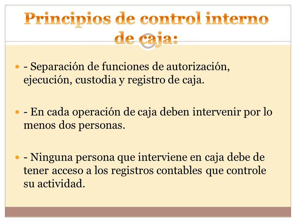 - Separación de funciones de autorización, ejecución, custodia y registro de caja.