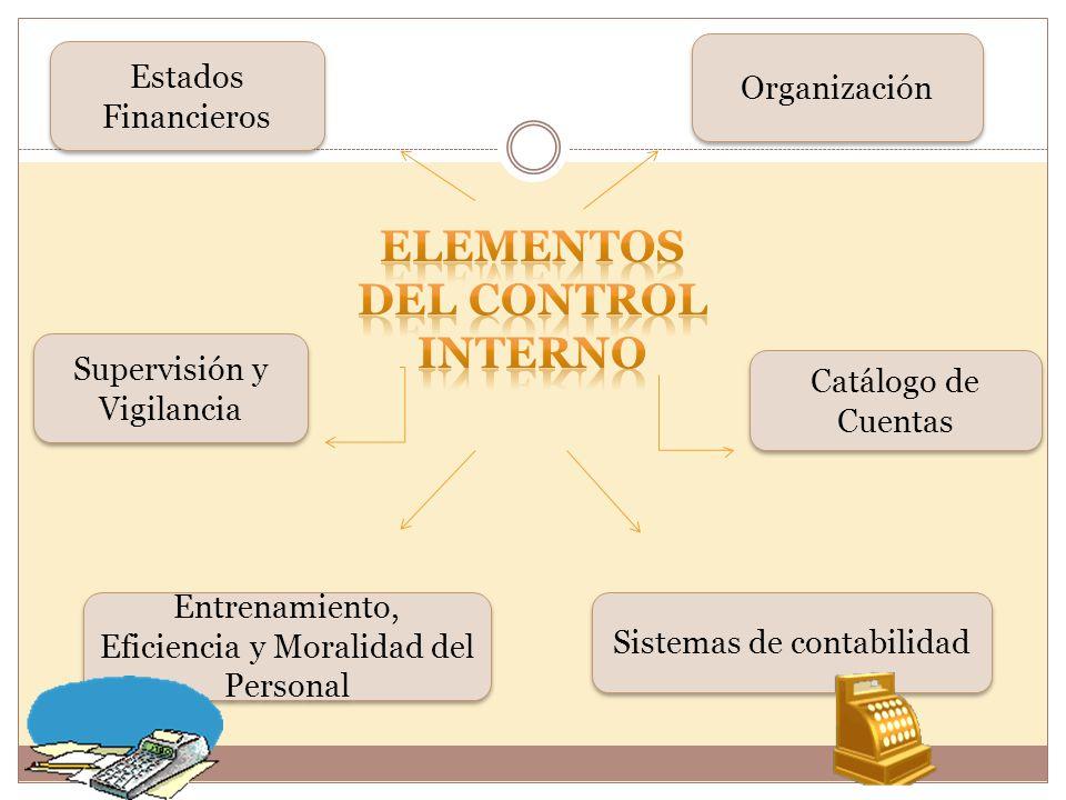 Entrenamiento, Eficiencia y Moralidad del Personal Sistemas de contabilidad Catálogo de Cuentas Estados Financieros Organización Supervisión y Vigilancia