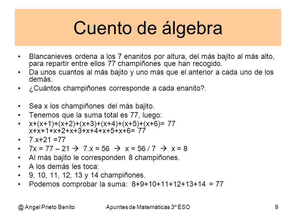 @ Angel Prieto BenitoApuntes de Matemáticas 3º ESO9 Cuento de álgebra Blancanieves ordena a los 7 enanitos por altura, del más bajito al más alto, para repartir entre ellos 77 champiñones que han recogido.