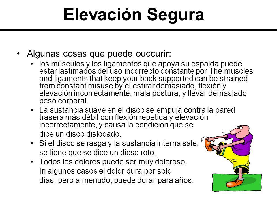 Elevación Segura Algunas cosas que puede ouccurir: los músculos y los ligamentos que apoya su espalda puede estar lastimados del uso incorrecto consta