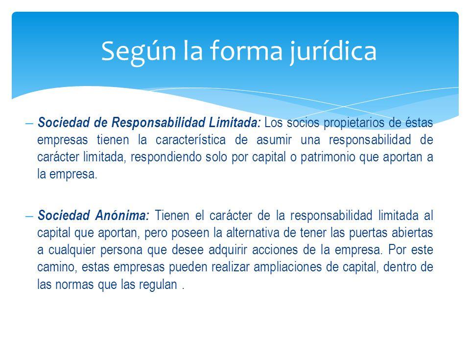 – Sociedad de Responsabilidad Limitada: Los socios propietarios de éstas empresas tienen la característica de asumir una responsabilidad de carácter limitada, respondiendo solo por capital o patrimonio que aportan a la empresa.