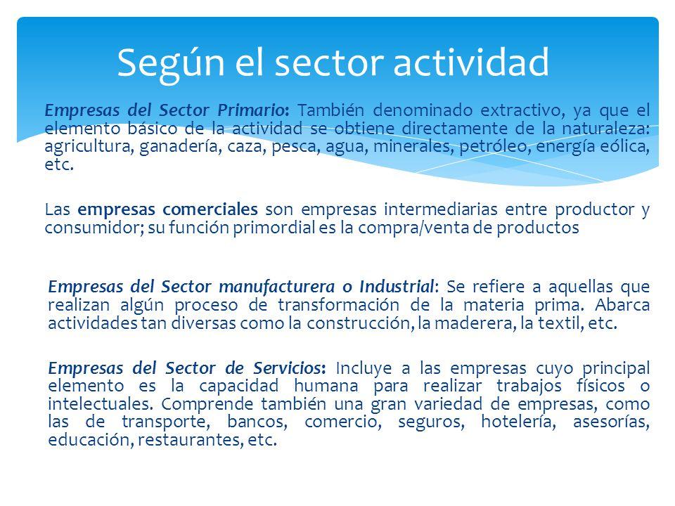 Empresas del Sector Primario: También denominado extractivo, ya que el elemento básico de la actividad se obtiene directamente de la naturaleza: agricultura, ganadería, caza, pesca, agua, minerales, petróleo, energía eólica, etc.