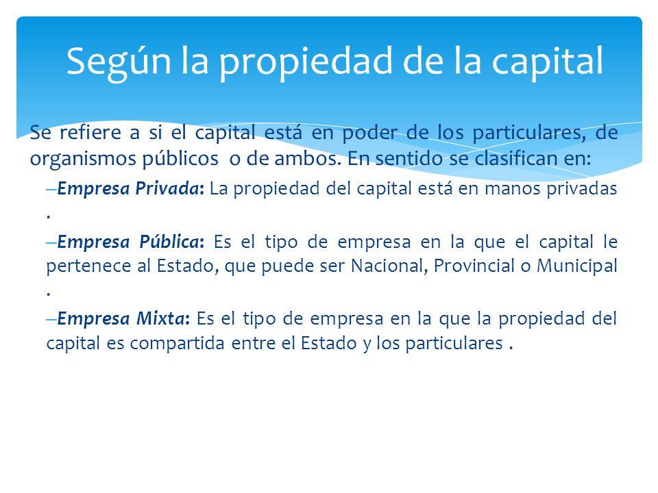 Se refiere a si el capital está en poder de los particulares, de organismos públicos o de ambos.