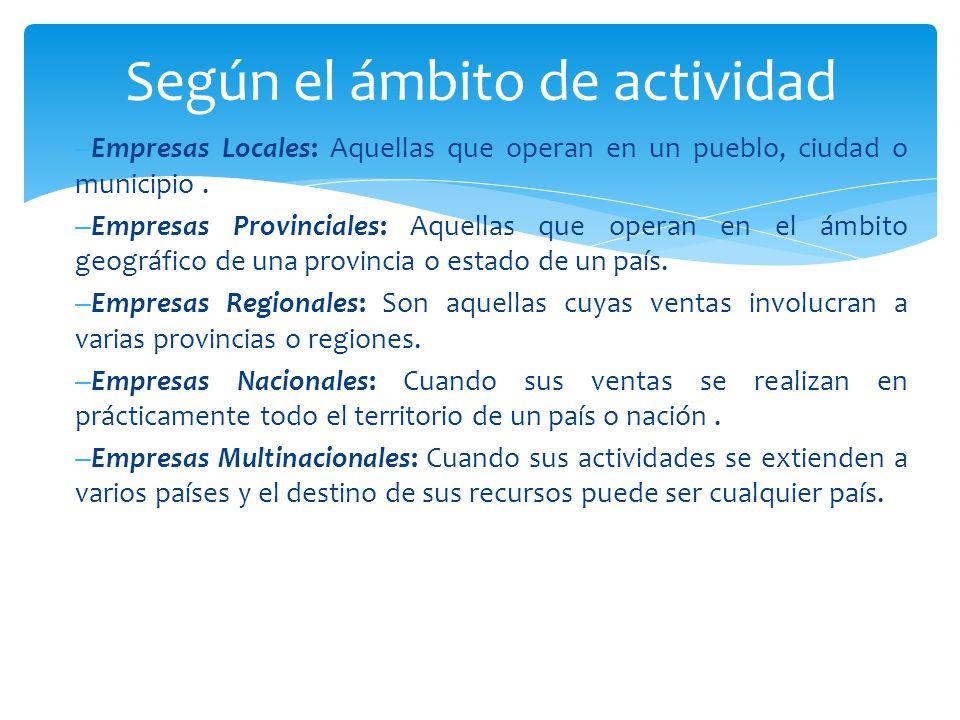 – Empresas Locales: Aquellas que operan en un pueblo, ciudad o municipio.