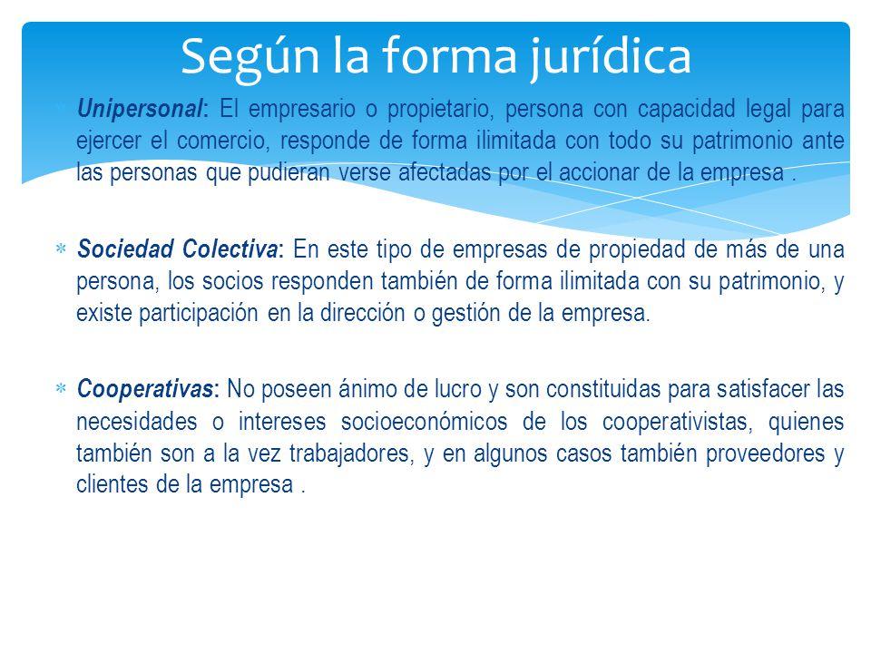  Unipersonal : El empresario o propietario, persona con capacidad legal para ejercer el comercio, responde de forma ilimitada con todo su patrimonio ante las personas que pudieran verse afectadas por el accionar de la empresa.
